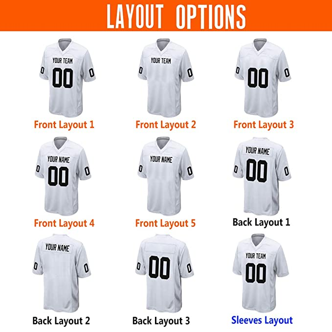Amazon.com: Custom Navy Mesh Football Jersey Design Online Embroidered Team Name and Your Numbers: Clothing