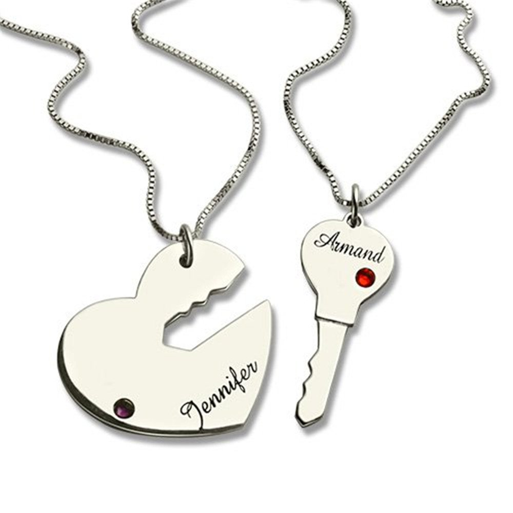 FACOCO Personalized inlay birthstone custom name key and heart name necklace fashion couple necklace