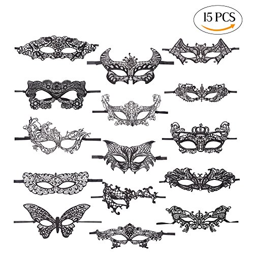 LOKIPA 15 PCS Venetian Masquerade Party Black Sexy Women Lace (Phoenix Costume Images)