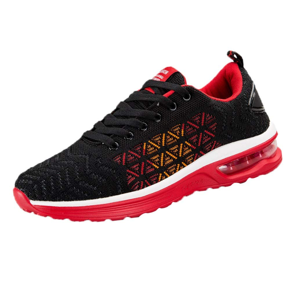 HOSOME Men Lightweight Athletic Running Shoes Breathable Sport Fitness Jogging Walking Workout Fitness Athletic Sneakers Red