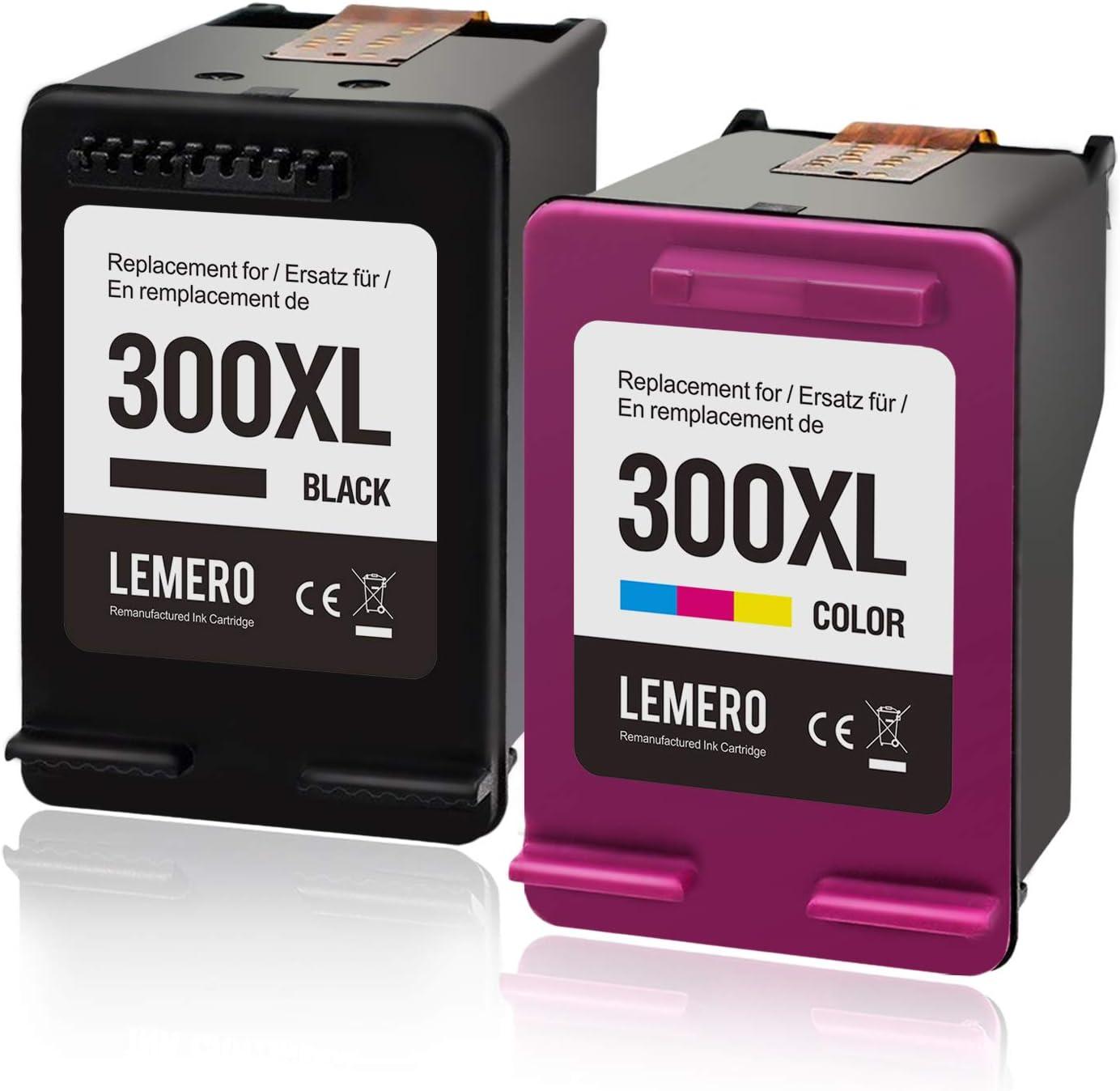 LEMERO 300XL Cartuchos de Tinta Tompatibles para HP 300XL para HP Deskjet F4280 F4580 D1660 D2560 D2660 D5560 F4240 Envy 114 120 110 Photosmart C4780 C4680 D110a(Color Negro)