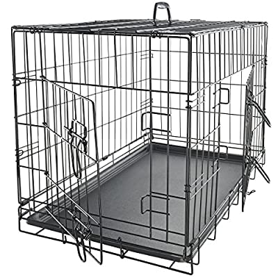 OxGord 42 inches Dog Crate with Divider, Double-Doors Folding Pet Cage with Heavy Duty Metal Wires, Removable ABS Plastic Floor Tray, Carry Case w/ Handle |XXL: 42 inches x 27 inches x 30 inches by OxGord