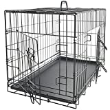 "Image of OxGord 36"" Dog Crate with Divider, Double-Doors Folding Pet Cage with Heavy Duty Metal Wires, Removable ABS Plastic Floor Tray Carry Case with Handle XL Extra Large"
