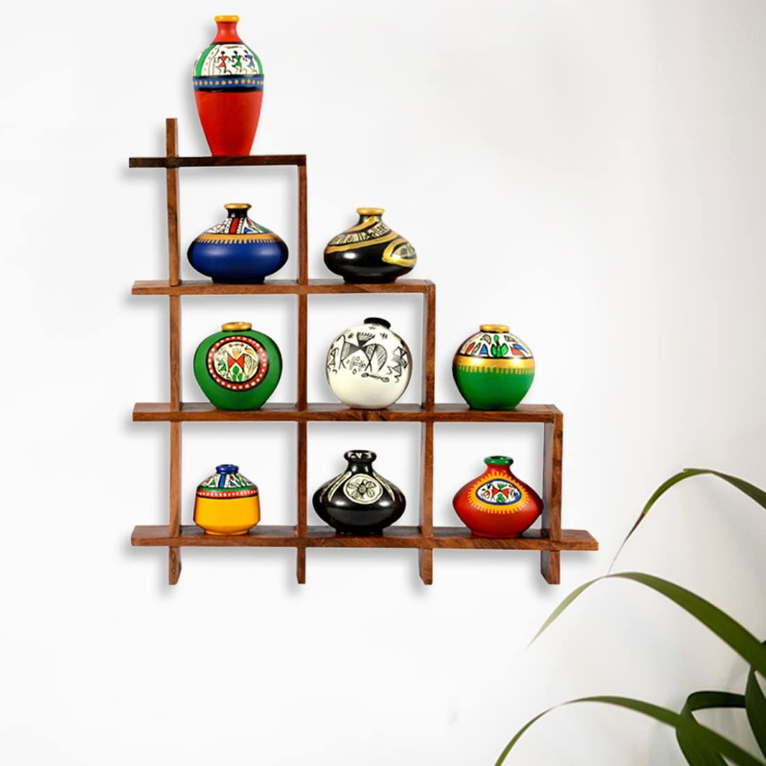 ExclusiveLane 9 Terracotta Warli Handpainted Pots with Sheesham Wooden Frame Wall Hanging - Wall Shelves for Bedroom Corner for Living Room Terracotta Pots Wall Hanging Shelf Indian Home Décor