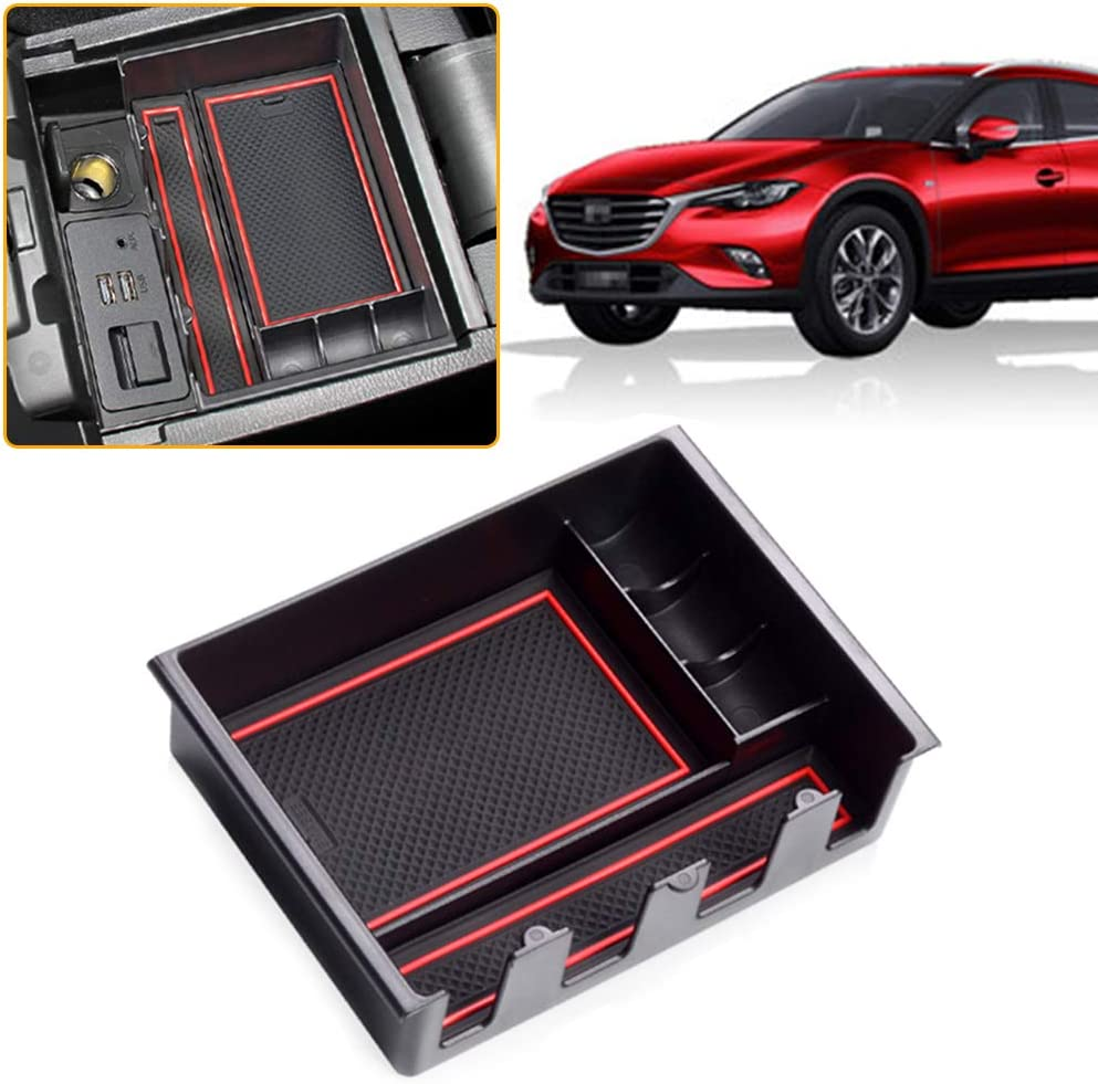 MyGone Center Console Armrest Box Insert Organizer Tray for Cadillac XT4 ABS Plastic Secondary Storage with Rubber Liners