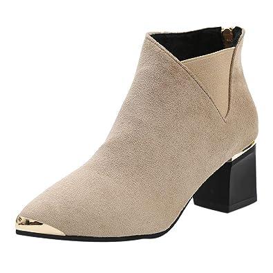 2a51589cfefdd CIELLTE Chaussures Bottines Femme Automne Hiver Pointu Patchwork Cheville  Chaussures à Talon Fermeture Eclair Chaussures Habillée