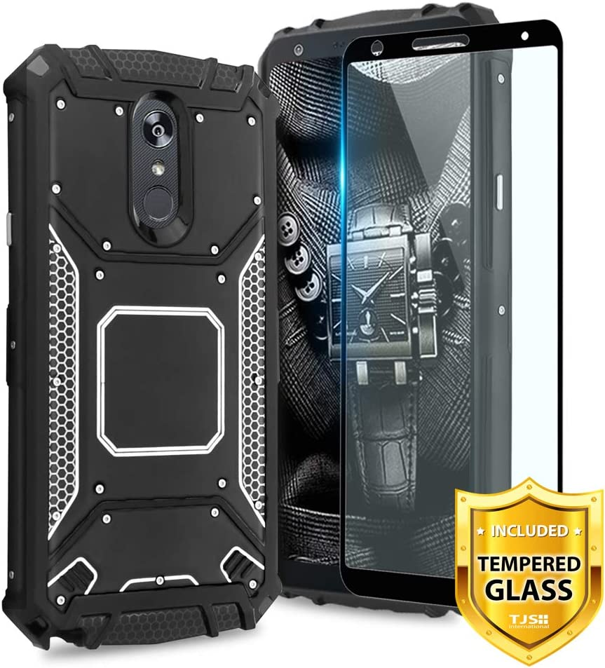 TJS LG Stylo 4 2018/LG Stylo 4 Plus/LG Q Stylus/LG Q Stylus Plus/LG Q Stylus Alpha Phone Case, [Full Coverage Tempered Glass Screen Protector] Aluminum Shockproof Military Metal Plate Back (Black)