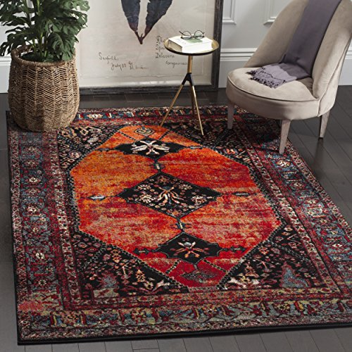 Safavieh Vintage Hamadan Collection VTH217B Oriental Antiqued Orange and Multi Area Rug (5'3″ x 7'6″) For Sale