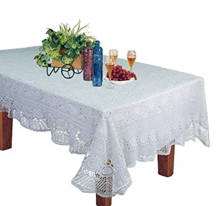 Reasonable Beautiful Vintage Handmade Pink Linen Tablecloth With Cotton Crochet Lace Linens & Textiles (pre-1930) Tablecloths