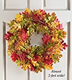 Autumn Wreath Fall Harvest Thanksgiving Country Primitive Home Accent Decoration (oak leaves)