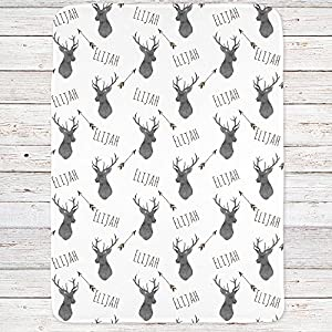 Personalized Deer Fleece Baby Boys Blanket, Charcoal and brown print