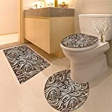 3 Piece Anti-slip mat set Seamless abstract hand drawn pattern with waves Non Slip Bathroom Rugs