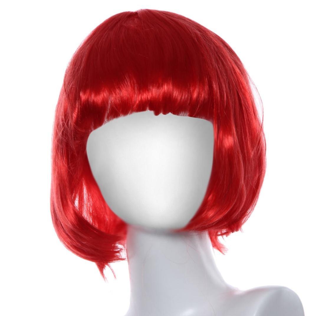 Hemlock Short Straight Hair Wig, Women Girls Masquerade Wig Cosplay Roll Bang Wig (Red)