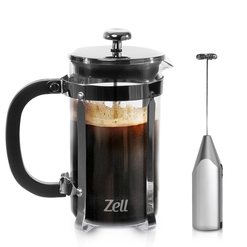 French Press Coffee Maker and Electric Milk Frother Set | Clear Strong Borosilicate Glass Tea & Coffee Brewer with Bonus Milk Frother | 34 Oz (1 Liter) | by Zell Mira Brands