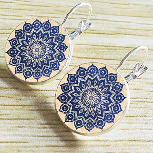 PAPPET Mandala Earrings Bohemian Bronze Glass Blue Flower Earring Indian Style Symbol Brass Gypsy Drop Dangle EarringsFor Women Vintage Jewelry