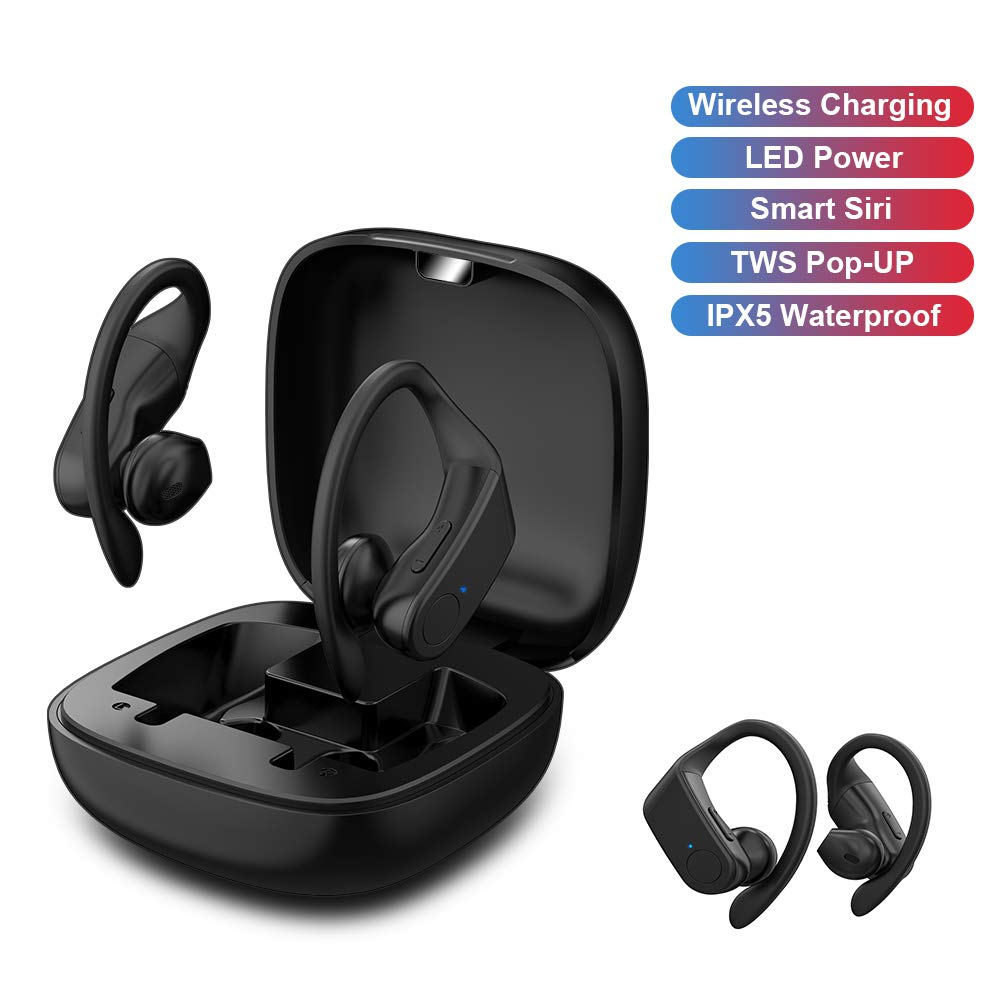 RONSHIN for B10 TWS Earphone Wireless Headphone Bluetooth 5.0 Sport Headset Automatic Pop-up 6D Stereo Sound with 950mAh Base Support Wireless Charging