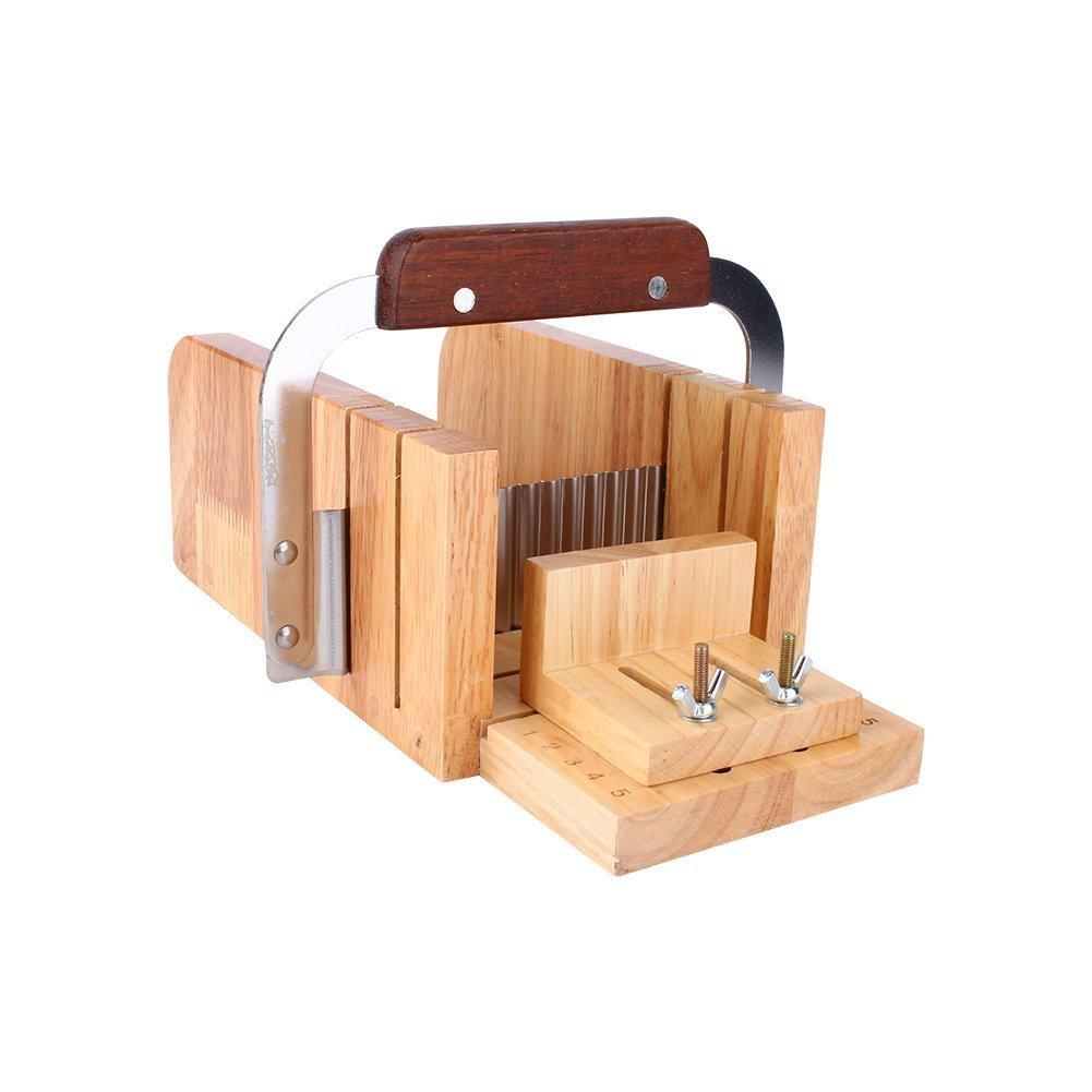 Juego para Hacer Jab/ón Conjunto de Herraminetas Cuchillo de Tableta Cuchillo de Onda Dispensador de Jab/ón Modelo de Jab/ón de Madera
