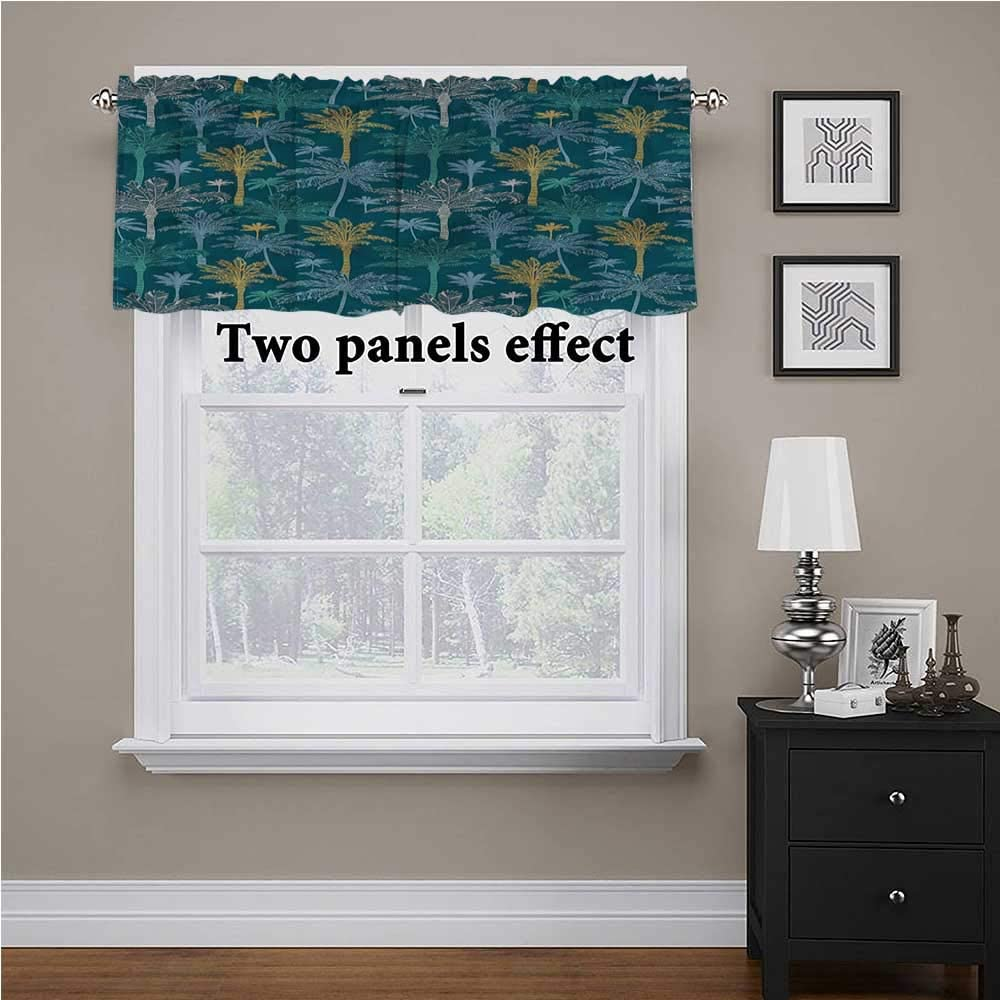 Adorise Window Curtain Valance Nature, Tropical Hawaiian Palm Trees Privacy Protection Kitchen Valances for Kitchen Bedroom Living Room, 54 x 18 Inch