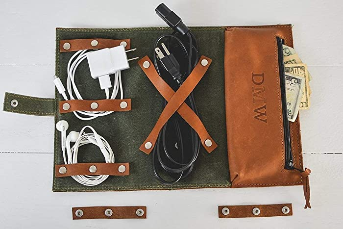 7841153560d7 Amazon.com  Personalized Leather Cord Roll Up