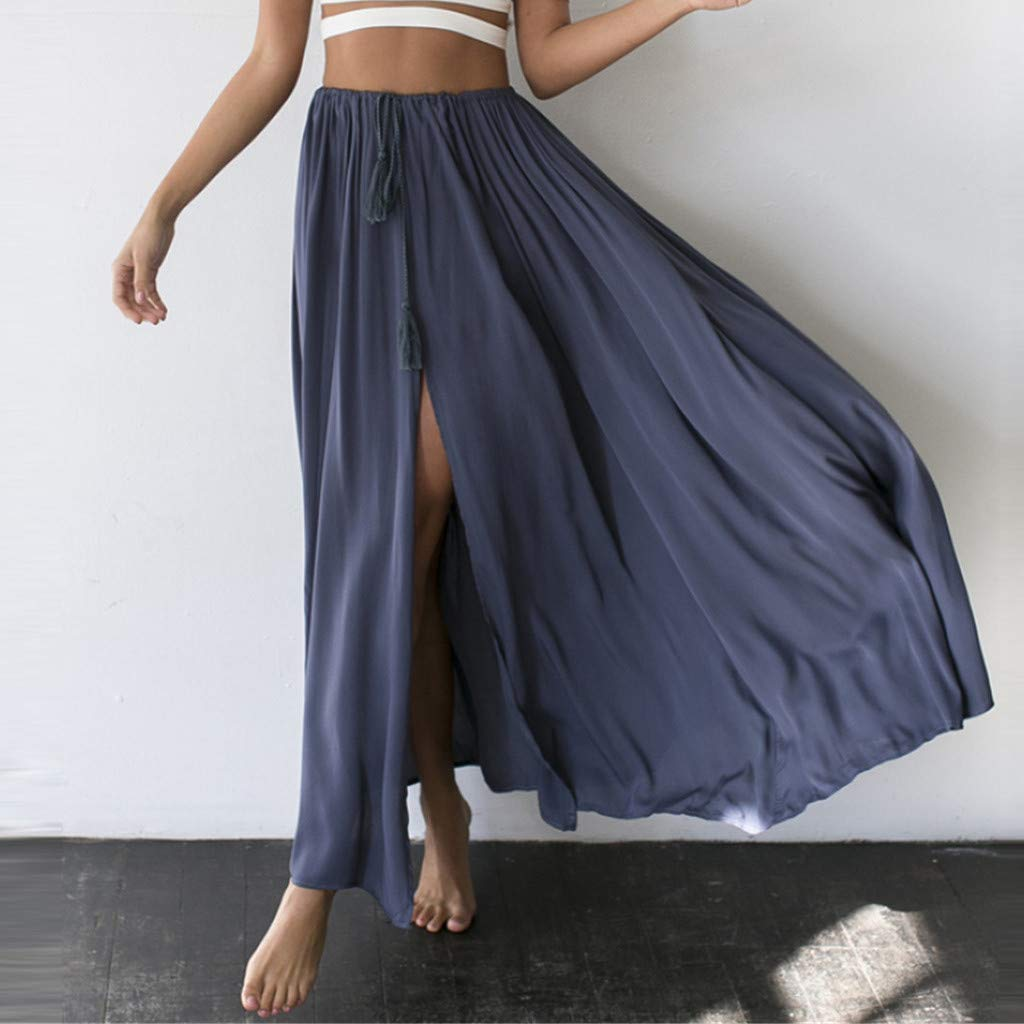 7ffbc307ed Women's Casual Bohemian Skirt Elastic Waist Floor Length Split Gypsy  Flowing Maxi Skirt at Amazon Women's Clothing store: