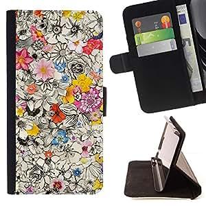 Ocupado Diseño floral de la tinta de la pluma pétalos de Giro- Modelo colorido cuero de la carpeta del tirón del caso cubierta piel Holster Funda protecció Para Apple iPhone 5 / iPhone 5S