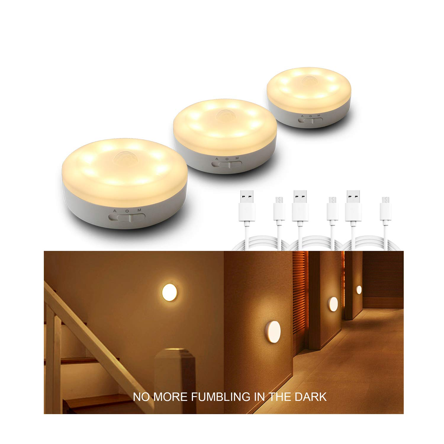 Rechargeable Motion Sensor Light 1000mAH LED Puck Lights, Stick Anywhere Light, Cordless Closet Light, Automatic Under Cabinet Lighting for Counter,Pantry,Wardrobe,Hallway,Stairs,Warm White 3 Pack by WOBANE