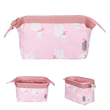 ef24ee08e009 Amazon.com   Makeup Bag Travel Cute Cosmetic Pouch Storage Brush Holder  Toiletry Fashion Women and Girl Waterproof Jewelry Organizer with Zipper  Pencil ...