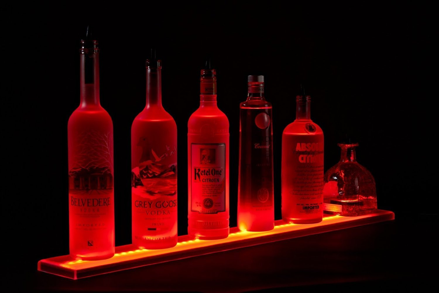 LED Liquor Shelf and Bottle Display (3 ft Length) - Programmable Shelving Includes Wireless Remote and Power Supply - COMFORTABLY HOLDS 7 - 9 BOTTLES