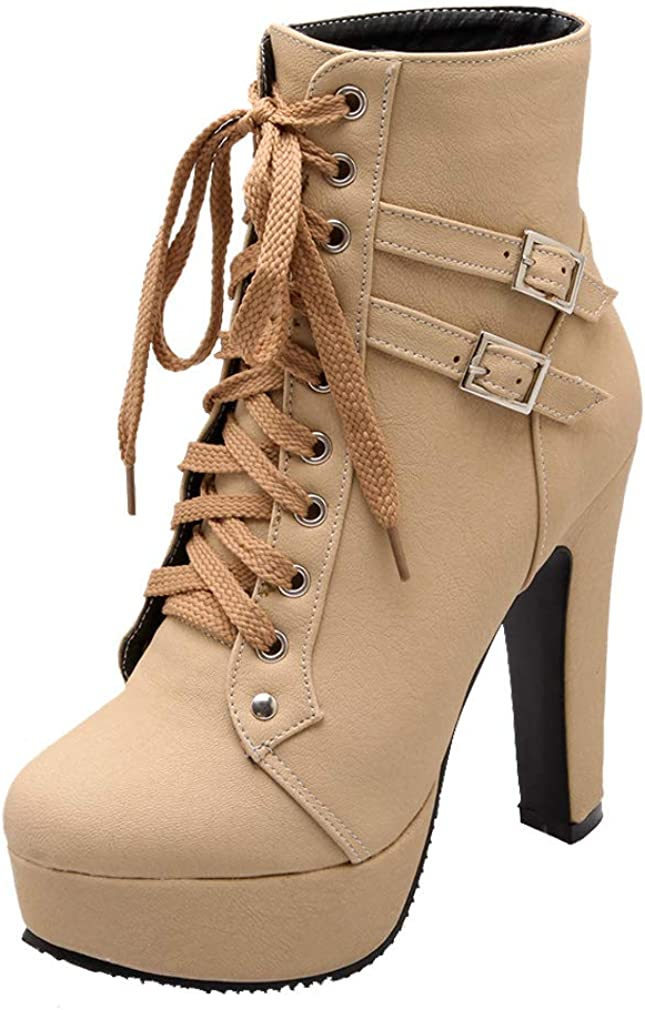 Bellirala Womens Platform Lace Up Biker Boots Chunky High Heel Booties Buckle