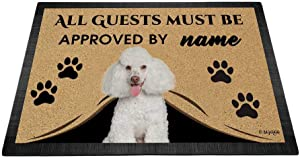 "BAGEYOU All Guests Must be Approved Outdoor Doormat with My Love Dog Poodle Welcome Floor Mat Custom Name 35.4"" x 23.6"""