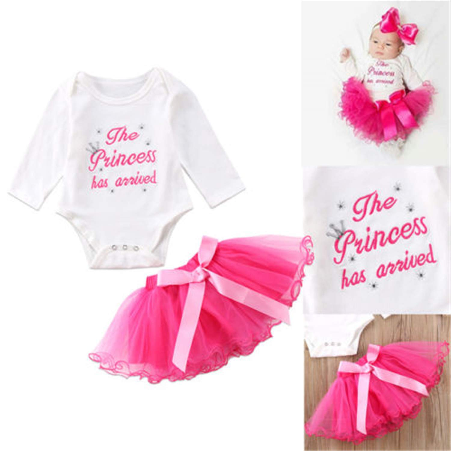 10cb6ccad Amazon.com: Fashion New 2pcs Newborn Baby Girl Kids Clothes Letter Printing  Long Sleeve Tops Romper +Lace Tutu Dress Skirts Outfit Sets: Clothing