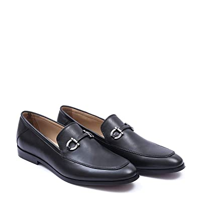 ARINO Hand Crafted Mens Slip on Leather Penny Loafers Casual Dress Shoes (8, Black) | Loafers & Slip-Ons