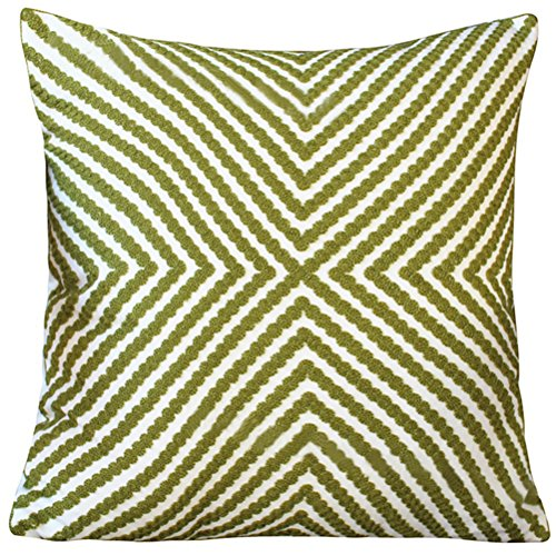 LivebyCare Embroidery Stripe Stuffed Throw Pillow PP Cotton Insert 18 x 18 Inch Seat Chair Back Cushion Zipper for Decorative Car Home Sofa Seder by LivebyCare