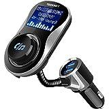 """Trasmettitore FM Bluetooth, TeckNet Caricabatterie Auto con 2 Porte USB 5V/3.4A, Radio Adattatori Vivavoce Car Kit con Schermo 1,44"""" Display, Supporta Scheda TF, Micro SD Card, U Disk Fino a 32G"""