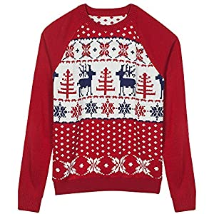 Blueberry Pet Men's Women's Ugly Christmas Reindeer Pullover Sweater in Tango Red & Navy Blue , Small