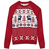 Blueberry Pet Men's Women's Ugly Christmas Reindeer Pullover Sweater in Tango Red & Navy Blue, XX-Large