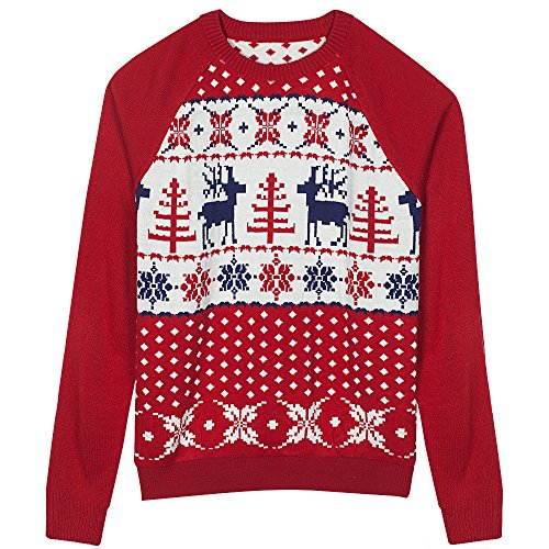 Blueberry Pet Men's Women's Ugly Christmas Reindeer Pullover Sweater In Tango Red & Navy Blue, Medium (Christmas Sweaters Family)
