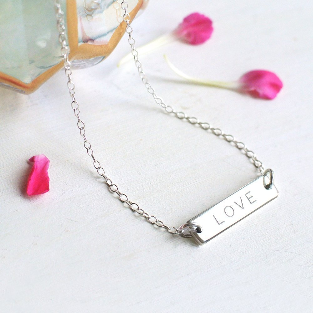 Personalised Sterling Silver Little 'LOVE' Bar Necklace