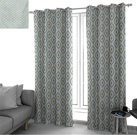bybyhome Ikat - Cortinas para puertas correderas de cristal con líneas étnicas y patrón de rombos con líneas de zigzag en espiga, paneles de cortina de composición en tono verde multicolor: Amazon.es: