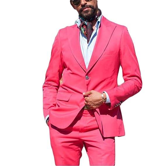 Botong Hot Pink Summer 2 Pieces Men Suits Jacket Pants Groom ...