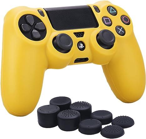 YoRHa silicona caso piel Fundas protectores cubierta para Sony PS4/slim/Pro Mando x 1 (amarillo) Con PRO los puños pulgar thumb gripsx 8: Amazon.es: Videojuegos