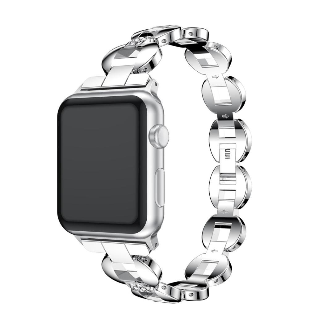 Alloy Crystal Link Bracelet Watch Band Strap For Apple Watch Series 3 38MM (D)