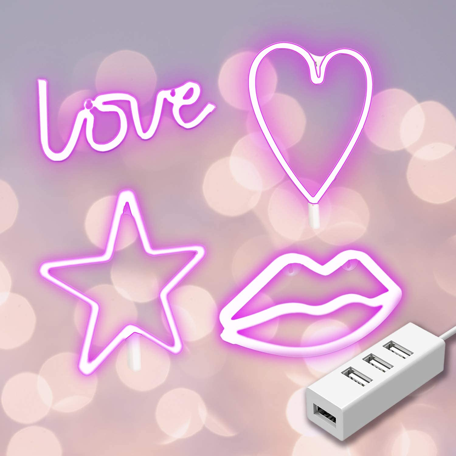 Adust Neon Signs Lights LED - 4-Pack Neon Love | Heart | Star | Lip Signs USB Charging & Battery Wall Decor for Girls Bedroom House Bar Pub Party Wedding Valentine's Day with USB Hub (Pink Neon)