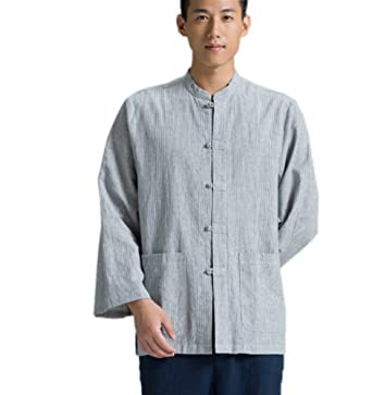 71dd449631c ZanYing Traditional Buddhist Monk Shirt Men Stripe Tops 3 4 Sleeve at  Amazon Men s Clothing store