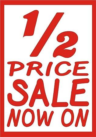 1 2 Half Price Sale Sign Sticker Shop Retail Outlet Door Or Window