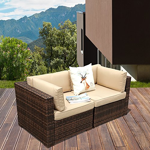 Cheap PATIOROMA Patio Loveaseat (2 Corner Sofa Chairs), All Weather Brown PE Wicker Outdoor Furniture, Beige Removable cushions,Steel Frame