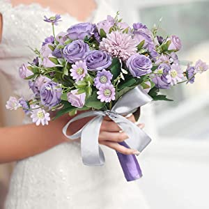 HiiARug Wedding Bouquets, Bridal Bouquet Bridesmaid Bouquet with Ribbons Artificial Rose Flower Bouquet Daisy Flower Bouquet for Wedding Party Home Decor (Purple)