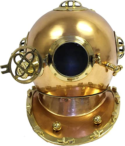 Full Sized US Navy Antique Finish Brass and Copper Diver Helmet Replica