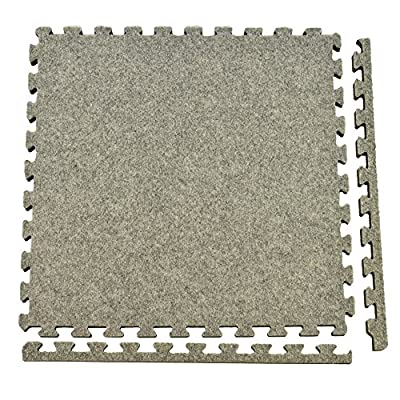 Greatmats Royal Interlocking Carpet Tiles 10x10 Ft Kit Light Gray