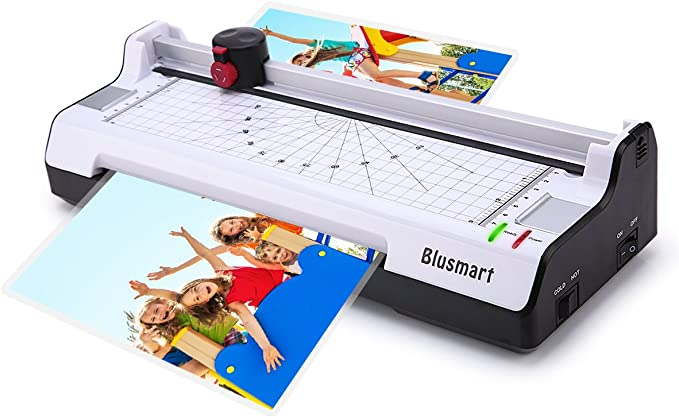 5 in 1 Blusmart Laminator Set, A4, Trimmer, Corner Rounder, 20 Laminating Pouches, Photo Frames, White